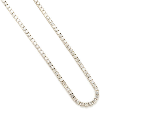 A diamond and white gold riviere necklace