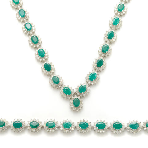 An emerald, diamond and white gold necklace and bracelet