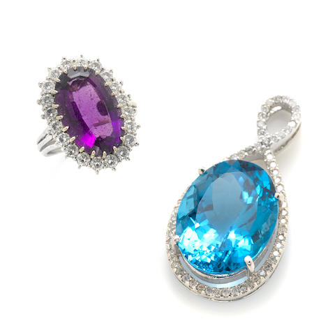 An oval topaz, diamond and white gold pendant with an oval amethyst, diamond and white gold ring