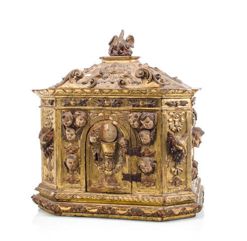 A Spanish or Sicilian Baroque Giltwood and Polychrome Decorated Tabernacle<BR />Late 17th / early 18th century