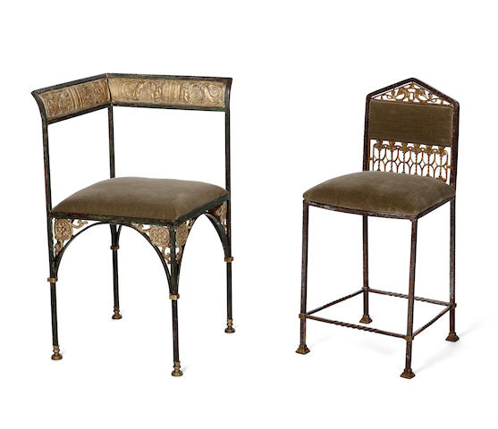 Two unusual Oscar Bach wrought-iron and bronze chairs circa 1925