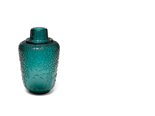 A Daum Nancy acid-etched aquamarine glass vase circa 1925