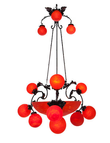 A Muller Frères glass and wrought-iron 13-light chandelier circa 1910