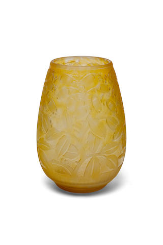 A Daum Nancy acid-etched yellow glass vase circa 1925