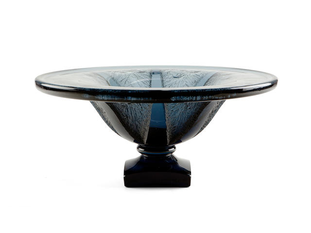 A good Daum Nancy acid-etched grey glass bowl circa 1925