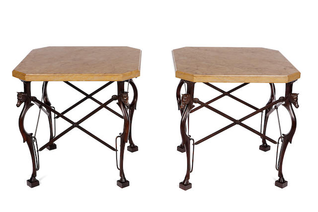 A pair of bronze and marble Equine folding end tables                  mid 20th Century
