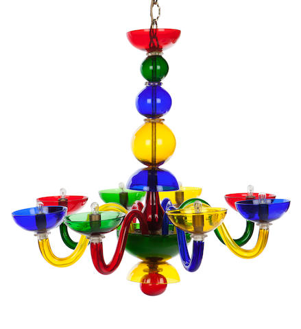 An Italian glass eight-arm chandelier   in the manner of  Gio Ponti, last quarter 20th Century