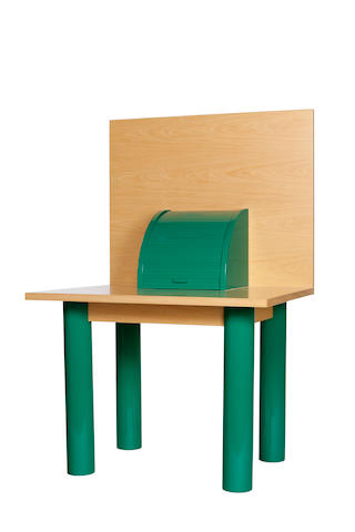 A Shiro Kurumata for Memphis lacquered wood, ash, and enameled steel desk: Ritz circa 1981