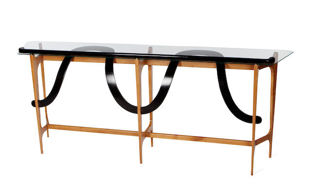 An Ico and Luisa Parisi ebonized, fruitwood and glass console circa 1954