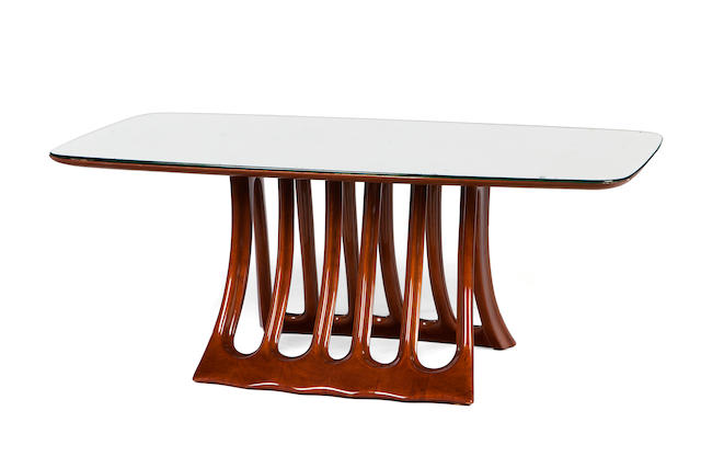 An Osvaldo Borsani walnut and mirrored glass coffee table circa 1944