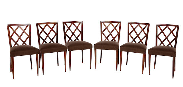 A set of six Eugenio Quarti rosewood lattice-back side chairs circa 1938