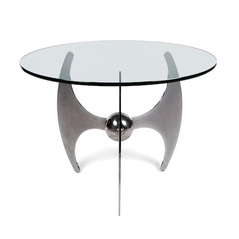 A Fontana Arte chromed steel and glass metamorphic table originally designed  for the Busatti Family, circa 1955