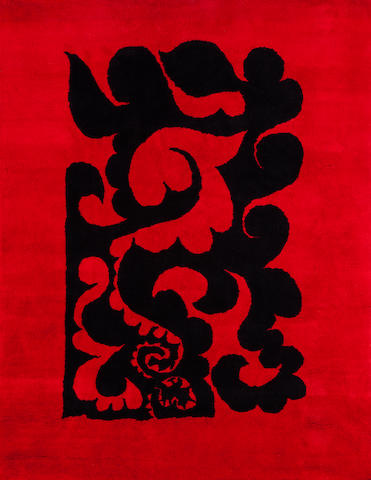 A Pablo Picasso wool rug: Volutes probably woven in India, 1970-71
