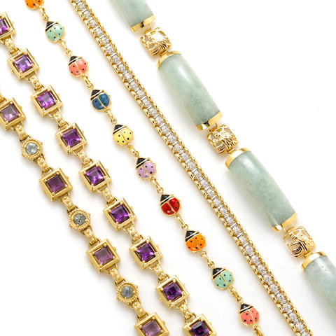 A collection of five gem-set, enamel, diamond and 14k gold bracelets