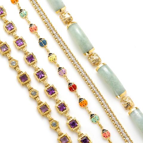 A group of five gem-set, enamel, diamond and 14k gold bracelets