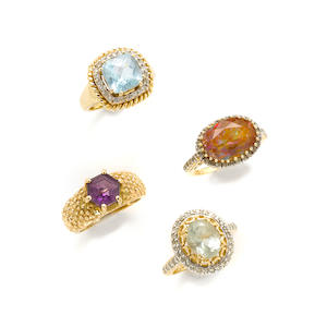A group of six gem-set, synthetic stone, diamond and 14k gold rings