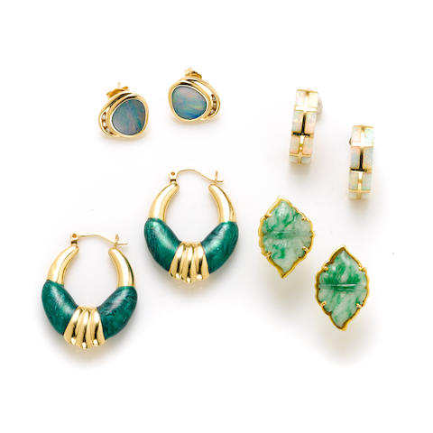 A collection of gem-set and gold jewelry; comprising 12 pairs of earrings, pendant a ring