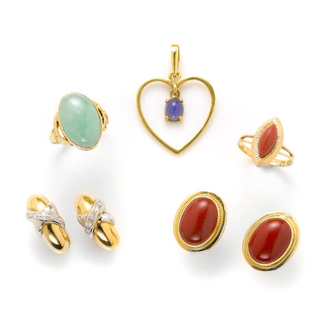 A group of gem-set and gold jewelry; comprising 4 pairs of earrings, 2 rings and a heart pendant