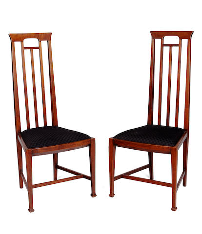 A rare pair of Joseph Maria Olbrich mahogany side chairs circa 1900
