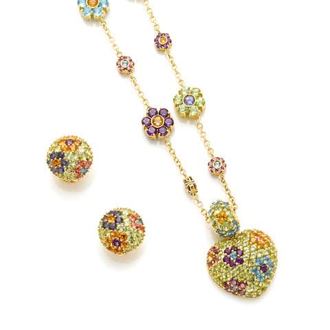 A collection of gem-set and gold floret and heart motif jewelry