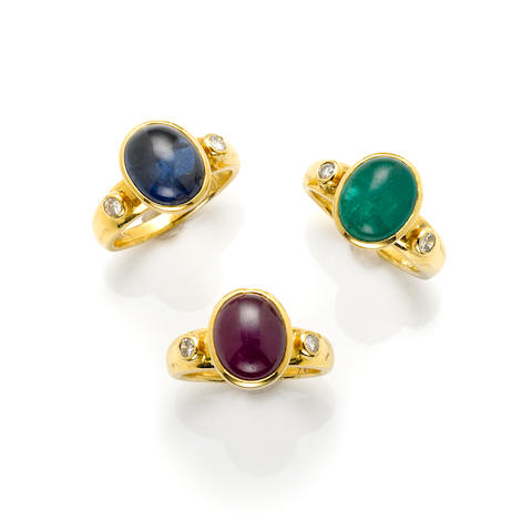 A group of three gem-set, diamond and 18k gold rings