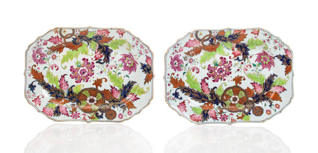 "A pair of Chinese Export porcelain shaped rectangular stands with ""Tobacco Leaf"" enameled decoration<BR />early 19th century"
