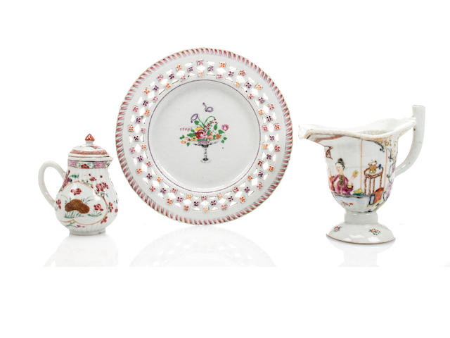 Three Chinese Export porcelain table articles enameled in the Famille Rose palette<BR />late 18th century