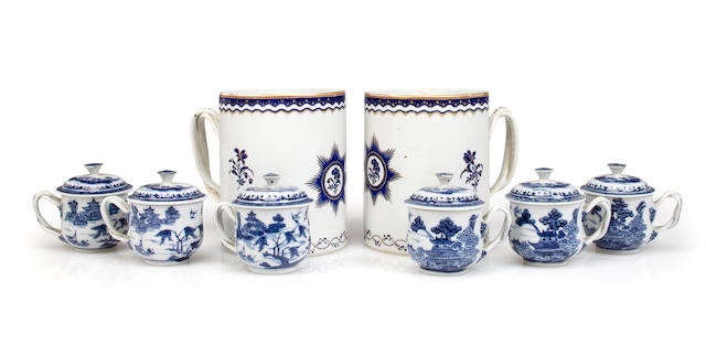 A pair of Chinese Export armorial mugs together with six Nanking covered cups