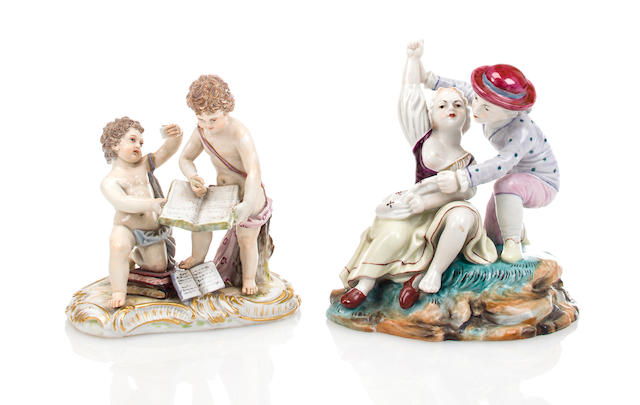 A Hoechst figural group of a boy and girl together with a Meissen figural group of putti