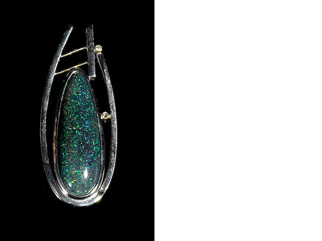 Andamooka Matrix Opal, Diamond, Gold and Silver Pendant