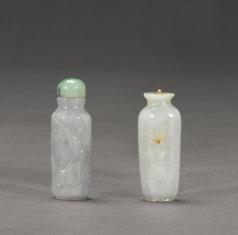 Two jadeite snuff bottles