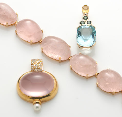 A rose quartz, diamond, cultured pearl, 18k and 14k gold bracelet and pendant together with a paste and 14k gold pendant