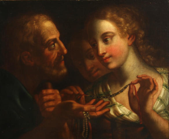 Italian School, 17th Century A woman accepting a necklace from an old man 16 x 19 1/2in
