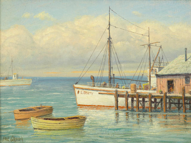 Paul A. Grimm (American, 1891-1974) Liberty at the dock 12 x 16in