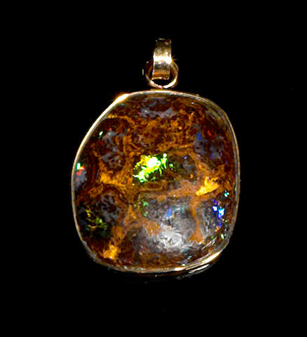 Unique Boulder Opal and Gold Pendant