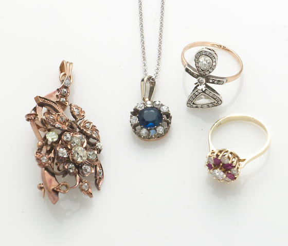 A collection of sapphire, synthetic ruby, diamond simulant, diamond, silver-topped 14k and 14k gold jewelry