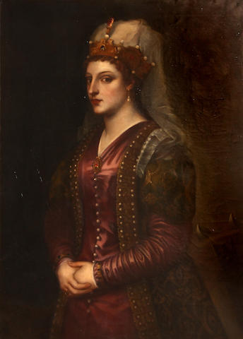 After Titian (1447-1576), * ON INSPECTION * Portrait of Caterinna Cornera Queen of Greece