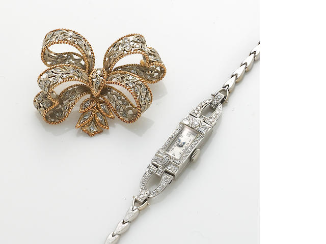 A diamond-set watch (14k) and diamond bolo pin in 18k