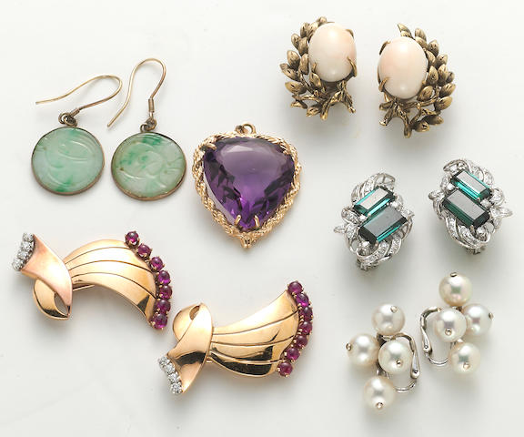 A group of 6 items, including 4 diamond and gem-set earrings, retro ruby and diamond clips, and amethyst heart pendant charm, 65.4g (14k) 10k