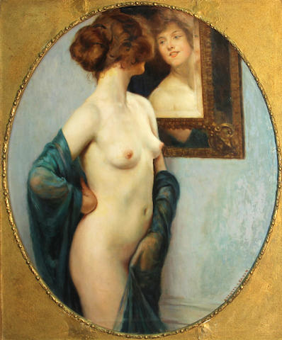 Auguste Leroux (French, 1871-1954) The looking glass 31 x 25in