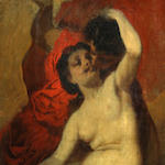 Follower of William Etty, RA (British, 1789-1849) Venus and Amor 22 3/4 x 9 1/4in