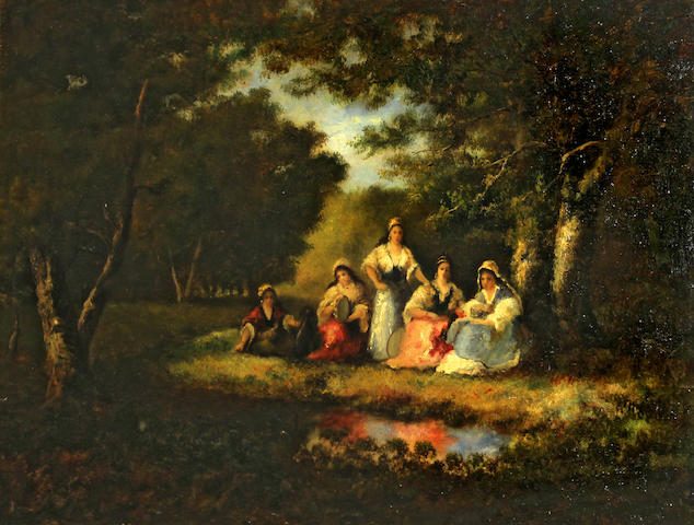 Follower of Narcisse Virgile Diaz de la Peña (French, 1808-1876) Gypsy women in a forest interior 17 3/4 x 24in