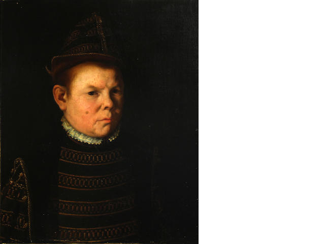 Continental School, 19th Century A portrait of a man, half-length, in a black and gold embroidered doublet 21 3/4 x 18in