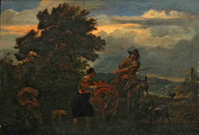 Follower of Nicolaes Berchem (Dutch, 1620-1683) A shepherd and shepherdess in a pastoral landscape 9 1/2 x 13 3/4in