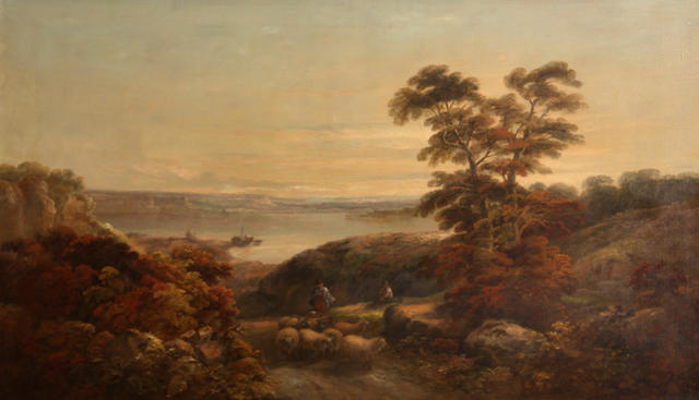 John Joseph Barker of Bath (British, 1824-1904) An extensive landscape, thought to be a view across the River Severn 30 1/4 x 50in