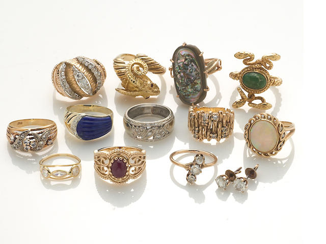 A group of gem-set and diamond rings and diamond earrings (13 pieces) 14k and 18k gold