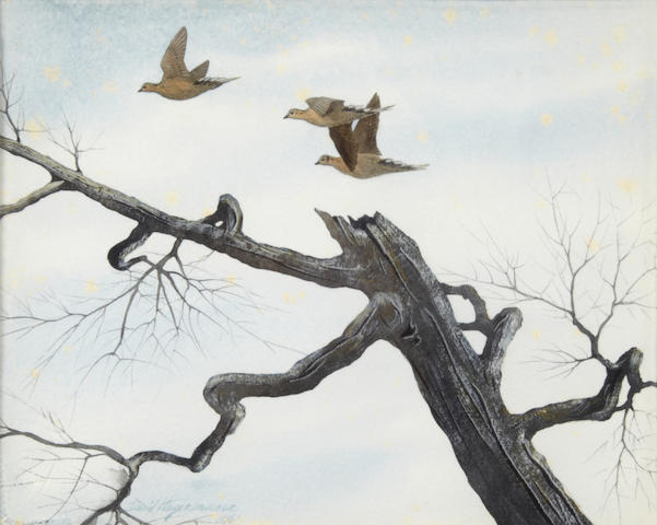 David Hagerbaumer (American, born 1921) Doves by an old tree 7 3/4 x 10in