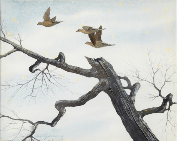 David Hagerbaumer (American, born 1921) Doves, signed and dated '1961', watercolor on paper, 8 x 10in