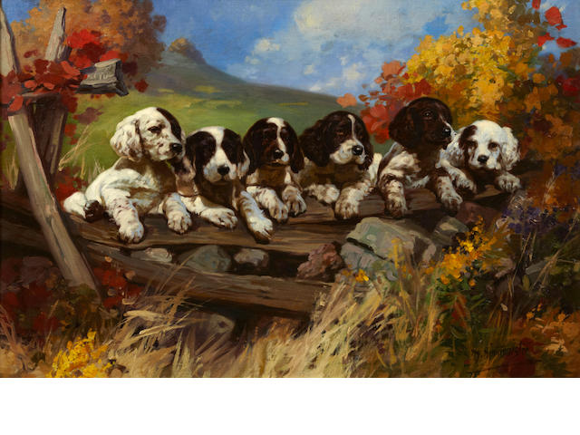 Henry (Hy) Hintermeister (American, 1897-1972) Six puppies on a fence 19 x 28 in. (22.8 x 71.0 cm.)