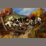 Henry (Hy) Hintermeister (American, 1897-1972) Six puppies, signed, oil on canvasboard, 19 x 28in
